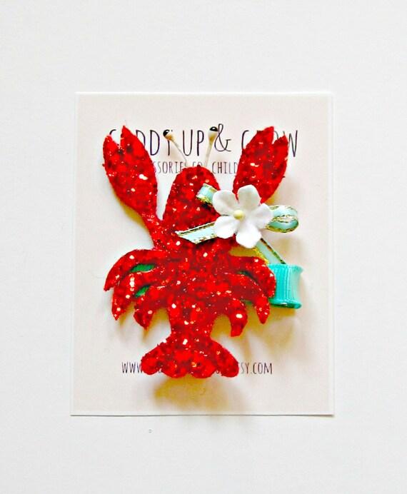 Glitter Hair Clip - Lobster Hair Clip, Nautical, Giddy Up and Grow