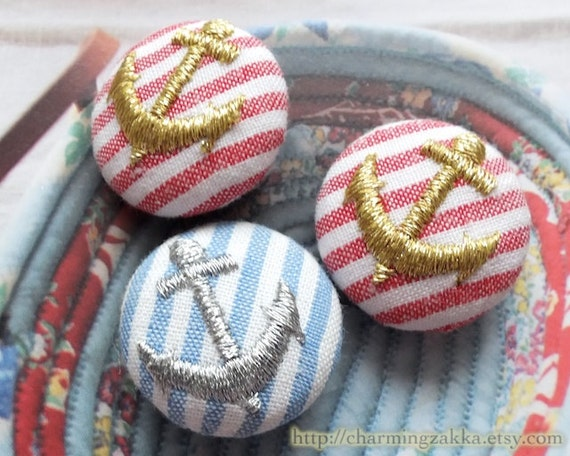 Fabric Covered Buttons (M) - Golden and Silver Embroidered Anchors On Red and Navy Stripe (3Pcs, 0.87 Inch, LAST SET)