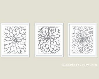 Dahlia Flowers Art Prints  - Set of Three - Modern Flowers Wall Art - Flower Decor - Slate Grey