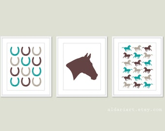 Equestrian Art Prints - Horse Wall Art - Horse Head Horseshoes Horses Prints - Horse Theme Nursery - Chocolate Teal Soft Taupe