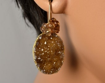LP 1100  Sparkling, Cinnamon Brown, Natural Agate Drusy and Andalusite Earrings