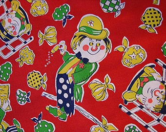 1960s Fabric Vintage Juvenile Fabric, Novelty Print Fabric Clowns Hobos Red Green Blue Vintage Sewing Fabric 1 1/2 yards