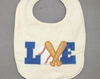 Baseball baby boy bib - love baseball bib - baby boy baseball bib - baseball bib - baby boy bib