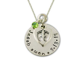 Personalized New BABY Necklace with Baby Feet Charm Sterling Silver | New Mom Necklace |