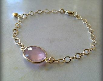 Rose Quartz Station Bead Bracelet with Puffed Heart Charm
