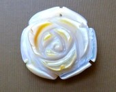 Carved Mother of Pearl Rose Flower Pendant  - 27x29mm - Top Drilled Pendant Bead - Beautiful Focal (cf03)