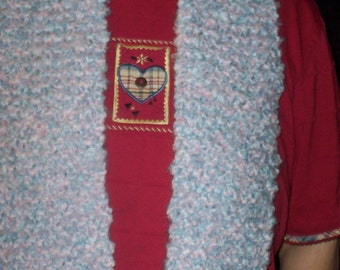 Knitted Thick Pink and Blue Scarf (SC 155)