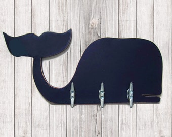 Navy Blue Whale Coat Rack with Boat Cleats for Nautical Nursery