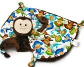 Embroidered Lovey, Monkey Blanket, Security Blanket, Baby Boy, Animal Blanket, Custom Baby Toy, Baby Blanket, Teething and Sensory Toy