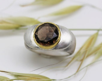 Smoky quartz cocktail ring, modern silver ring, modern engagement ring, men's signet ring