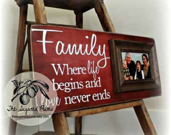 Personalized Family Name Signs, Picture Frame Quote, Custom Wedding Gift, Established, Housewarming, 8x20, The Sugared Plums