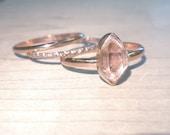 Herkimer Diamond Ring Rose Gold Statement Ring Stacking Set of Three-14k Rose gold fill rings - Rose gold engagement rings