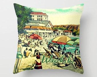 WAIKIKI Hawaii Pillow Cover, Pillow Gifts For Her, Throw Pillow, Ocean Inspired,  Decorative Beach House Pillow, Vintage Ocean Seaside Art