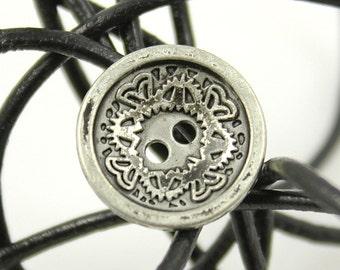 Metal Buttons - Floral Carving Metal Buttons , Retro Silver Color , Concave , 4 Holes , 0.59 inch , 10 pcs
