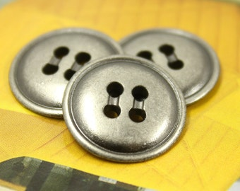 Metal Buttons - Plump Metal Buttons , Nickel Silver Color , 4 Holes , 0.67 inch , 10 pcs