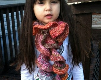 Little girl's scarf, beautiful curly, ruffly scarf, wool blend, mix of colors
