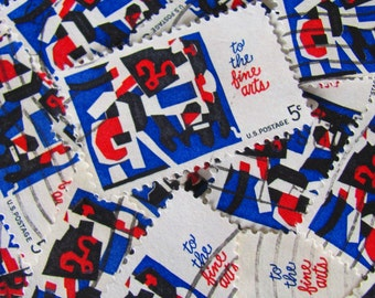 To The Fine Arts 30 Vintage Mod US Postage Stamps 1960s 5-Cent Stuart Davis Modernist Midcentury Modern Red White Blue Scrapbooking Ephemera