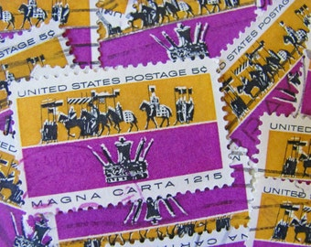 Magna Carta 30 Vintage US Postage Stamps Common Law 5c Purple Gold Scrapbooking Ephemera Great Charter Crown Royal Freedom Independence 1265