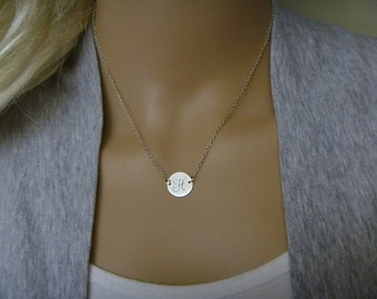 Silver or Gold Initial Necklace Jewelry - Personalize Bridesmaid Gift Jewelry - Monogram Disc Charm  Necklace - Femmart - Birthday Gift