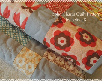 Boho Charm Pack Quilt Pattern Tutorial with photos, pdf,
