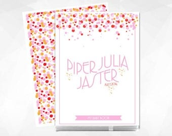 Personalized Baby Book, Baby Book, Baby Memory Book, Modern Baby Book, Girl, Ombre Confetti, Pink and Orange, FREE SHIPPING
