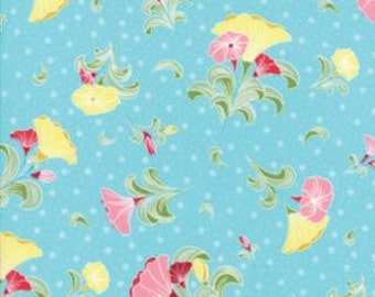 Pedal Pushers - Quilting Fabric from Moda - Large Aqua Floral