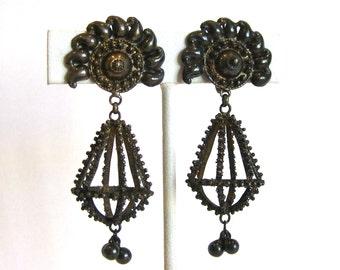 Vintage 30s 40s Etruscan Sterling Silver Italian Filigree Screw Back Chandelier Dangle Earrings
