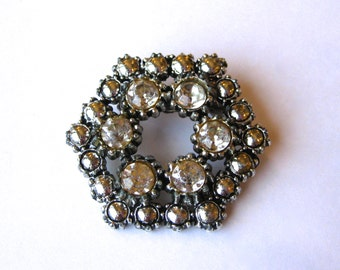 Vintage 50s Jeweled Rhinestone Designer Glamour Girl Brooch Pin