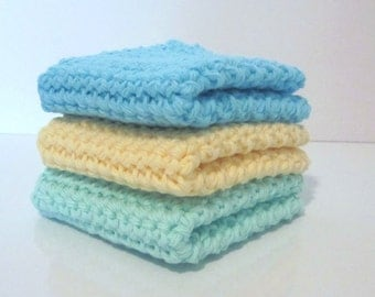 Crochet Wash Cloths,  Dishcloths, Set of 3