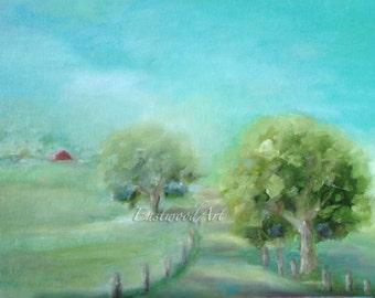 "Original Landscape Barn Painting, Road, Trees, Barn Art, Blue Sky, Clouds, 14"" x 10"""