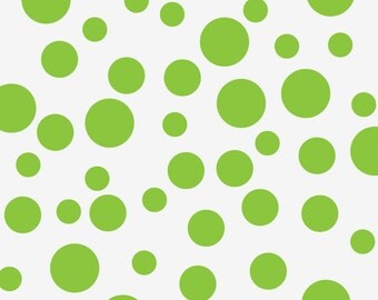 Polka Dot Wall Decal Set of 44 in 3 Sizes: One Color in 2, 3, and 4 inches for Wall Patterns, Shown in Spring Green (0177a2v)