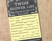 Chalkboard Yellow and Gray TWINS - Printable Twins Baby Shower Mad Libs Advice for the Mom-to-Be - INSTANT DOWNLOAD