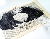 Two Bears In Love Sweet Love Wedding Anniversary Engagement Valentine Gift Personalized Art Print on Antique 1896 Dictionary Book Page