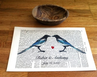 Love Magpies Sweet Love Wedding Engagement Anniversary Valentine Gift Personalized Art Print on Antique 1896 Dictionary Book Page