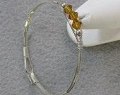 Sterling Silver and Swarovski  Crystal 7 inch Cuff Bangle