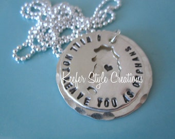South Korea cut out adoption/mission  hand stamped I will not leave you as orphans on hammered disk with  heart necklace