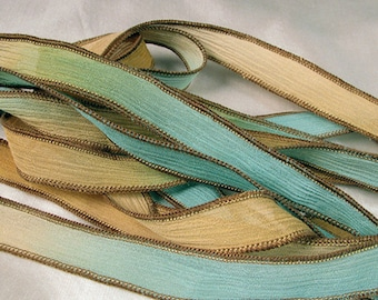 Hand Dyed Silk Ribbon - Crinkle Hand Painted Silk Jewelry Bracelet - Fairy Ribbons - Seafoam Surf
