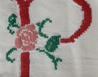 Vintage French Country Bed Cover, PB Monogram Floral, Red, Pink, Green on White