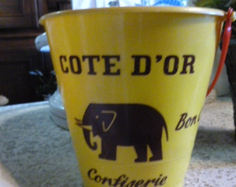 French Toy, Sand Bucket, or Pail, Advertising French Chocolate