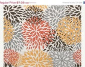 CLOSING SHOP SALE  Home Dec Fabric Yardage - Premier Prints - Floral Blooms - Gray, Orange, White - 1 Yard