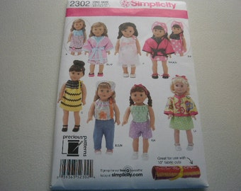Pattern Doll Outfits 18 inch Dolls Simplicity 2302