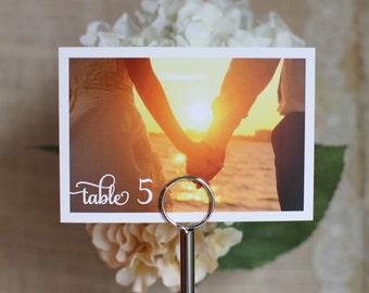 5x7 Wedding Table Number with Custom Customize Photo Pic Pictures Color Guest Table
