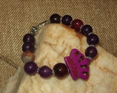 Stretch Purple Magnesite Crown Bracelet with Purple Jade Beads and Daisy Spacers