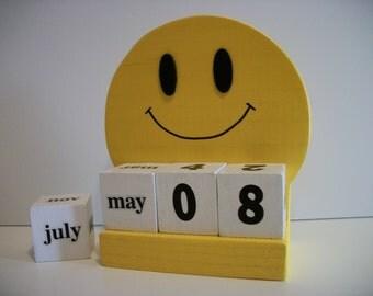 Happy Face Calendar Perpetual Wood Block Yellow Happy Face Retro Decor