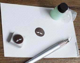 mustache stamp, cute mustache rubber stamp, round stamp, hand carved rubber stamp, rubber stamp, stamp