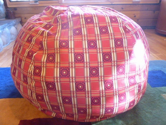 Red And Yellow Plaid Bean Bag Chair Cover Etsy Kids Gifts