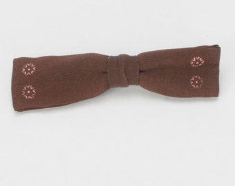 Brown Clip Bow Tie with Pink Print Detail Batwing