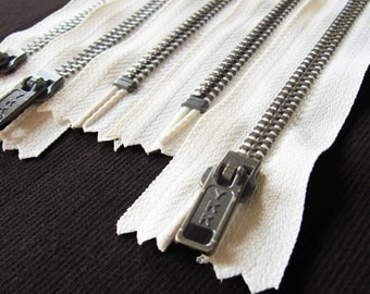16inch - Cream Metal Zipper - Brass Teeth - 5pcs