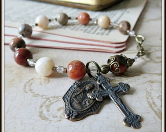 St. Anne Catholic Rosary Bracelet in Bronze & Flower Agate Gemstone