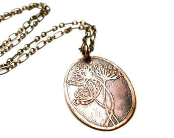 Queen Anne's Lace Necklace - Botanical Etched Copper Pendant - Flower Necklace